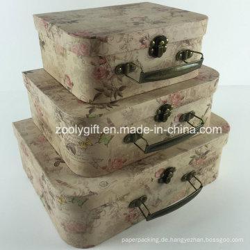 Kundenspezifische Druckpappe-Koffer-Kosmetik-Kasten / Großhandelspapier-Koffer-Geschenk-Verpackungs-Kasten