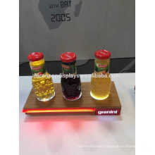 Led Lighting 3 Bottles Trade Show Display Unit Custom Size Wooden Finishing Retail Product Stand