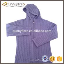 diseño del suéter de la rebeca del cable con capucha de punto de cachemira para niña