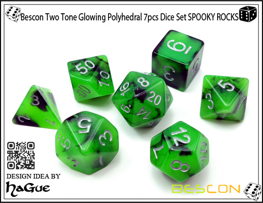 Bescon Two Tone Glowing Polyhedral 7pcs Dice Set SPOOKY ROCKS-5