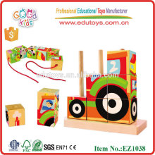 EZ1038 9pcs colorful heat transfer printing farm set 3D Wooden Blocks