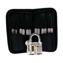 Transparent Practice Padlock with Canvas Bag 15PCS Lockpicking Tools White Silicon Case (Combo 6)