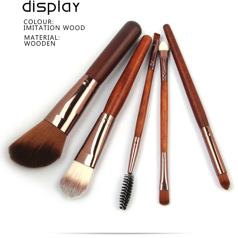 5 Pcs Wood Makeup Brushes Set display 1