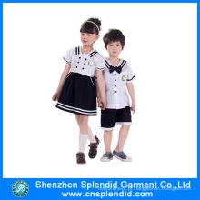 Verão personalizado Short manga branca e preta Kindergarten Uniform