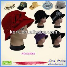 Vintage Style Women Girl Solid Trendy Wool Hat Elegant Women Hats , LSW63