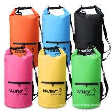 10L 20L Floating Backpack Waterproof Dry Bag with Front Zippered Pocket and Mesh Bag