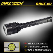 Maxtoch SN6X-20 de alta potencia y largo alcance 6000 lúmenes 26650 baterías y cargador linterna