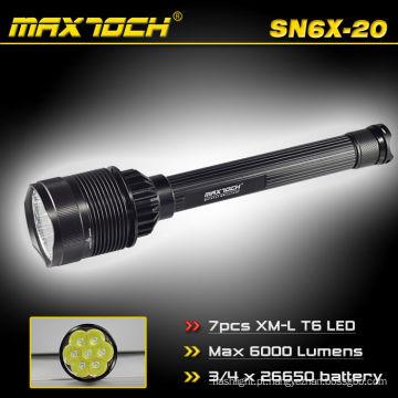 Maxtoch SN6X-20 de alta potência e de longo alcance 6000 Lumens 26650 baterias e carregador lanterna
