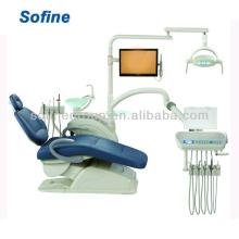 Nova cadeira de unidade dentária de luxo com unidade dental de couro real Venda quente