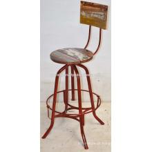 Tabureiro de barra industrial vintage Reciclado de madeira vermelho Cor destronada