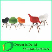 elegant plastic seat wood leg nice chair