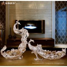 Home decor craft manufacturer custom resin ornament animal phoenix fruit plate fruit tray