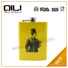 Amarillo de 5oz de FDA impresión frascos de acero inoxidable padrinos de boda divertidos