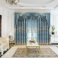Factory Direct Selling Ready Made European Style Double Layers Luxury Embroidery Window Blackout Curtains For The Bedroom