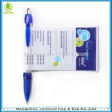 High quality cheap pull out banner pen/promotional ball point pen/advertising plastic gift pen