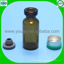Frasco de vidro de 3 ml com tampão de borracha e tampa
