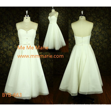 Latest simple sweetheart A-line strapless China custom made A-line short wedding dress BYB-663