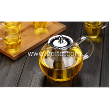 borosilicate heat resistant clear glass teapot with stainless steel strainer