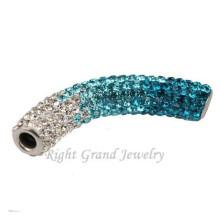Color mezclado largo doblar tubo Shamballa rebordea encantos para pulseras