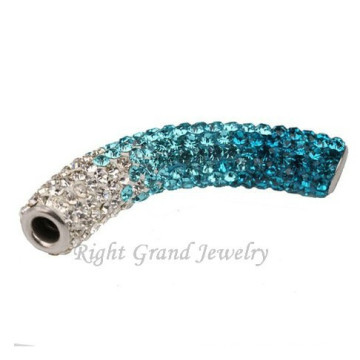 Gemischte Farbe lange Biegen Rohr Shamballa Perlen Charms für Armbänder