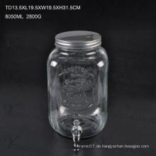 High Qualtiy 10L Glas Saft Getränke Eis Kalte Glas mit Hahn / Big Capacity Glas Mason Jar mit Scale
