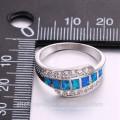 Elegant section design zircon gemstone 925 sterling silver ring for women