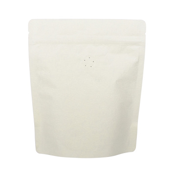 Aluminium White Kraft Bags Coffee One Way Valve
