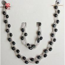 6-7mm Conjunto de jóias de pérolas de água doce preto