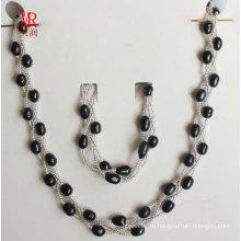 Набор ювелирных изделий из жемчуга черного жемчуга 6-7мм