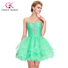 Grace Karin the Real Pictures of Off shoulder Strapless Sexy Short Beaded Green Formal Homecoming Dress CL6077-3