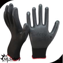SRSAFETY billig Preis / Schaum Nitril beschichtet Arbeitshandschuh mit Punkten auf Handfläche / Hand Handschuhe