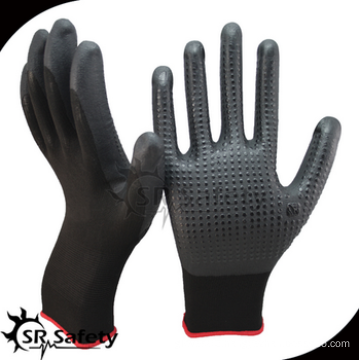 SRSAFETY cheap price/foam nitrile coated working glove with dots on palm/hand gloves