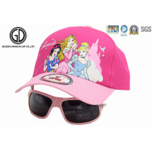 High Quality Custom Princess Pink Baseball Kids Cap with Sunglasses