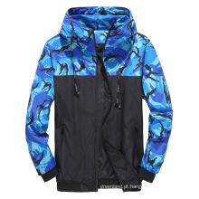 Jaqueta corta-vento em patchwork de camuflagem masculina venda quente personalizada