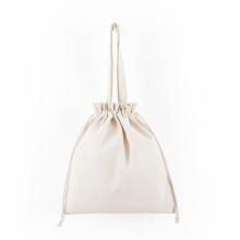 custom 100% Cotton Muslin Drawstring Bag Large Imprint white Muslin calico canvas string bag