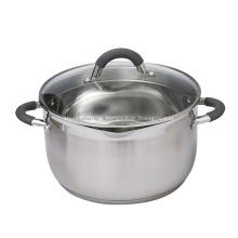 Olla de sopa de acero inoxidable con tapa de vidrio