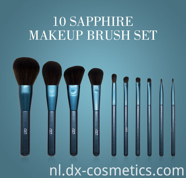10 Pcs Blue Glitter Diamond Makeup Brushes Set 1