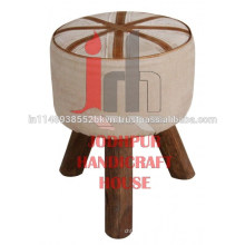 Cuero industrial Lona redonda con taburete de madera de las piernas