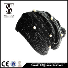 black color fashion design knitted attached jewelry hat