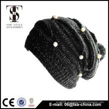 Negro color diseño knitted joyería sombrero