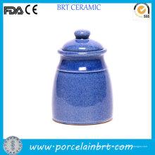 Grande boîte à thé de design bleu poli