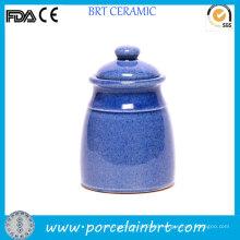 Tall Polished Blue Design Tea Canister