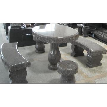 Stone Carved Table and Bench