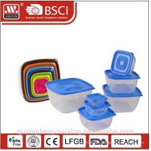 7pcs Square Plastic Food Container Set(0.13L/0.3L/0.6L/1.1L/1.8L/2.9L/4.4L)
