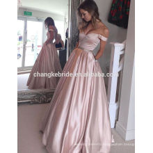 A-Line Shoulder Off Pearl Pink Prom Dress Long Taffeta Bridesmaid Dresses With Beading Pockets