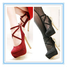 Zapatos rojos / negros de la plataforma del alto talón de la venta caliente magnífica de la venta (WS-5001)