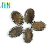 Wholesale Rhinestone Jewelry Pave Sliced Oval Agate Pendants With Grade AAA Quality