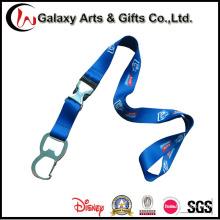 Cordão de Sublimação de Poliéster Azul Royal com Abridor de Garrafas