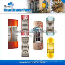 1.0m/s ~ 1.75m/s Hairline Stainless Steel Elevator Cabins, Panoramic Elevator Cab