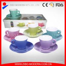 Venta al por mayor de té de cerámica de café blanco y plato platillos